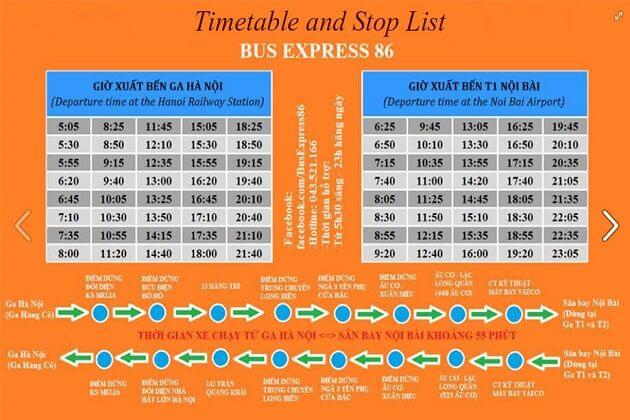 Bus 86 timetable