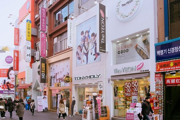 Cosmetics at Myeongdong - best things to do in korea