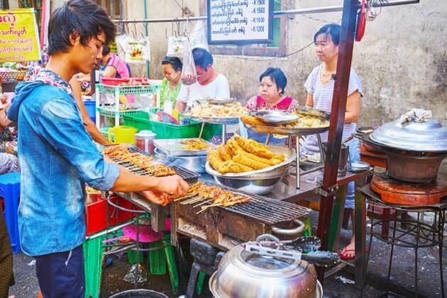 Grilled Skewers - street food of myanmar
