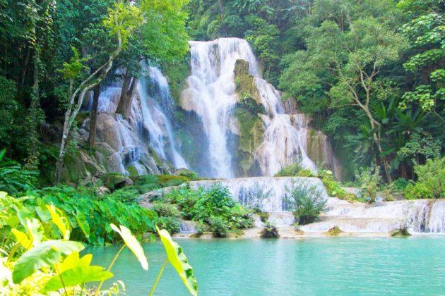 kuang si waterfall in luang prabang laos