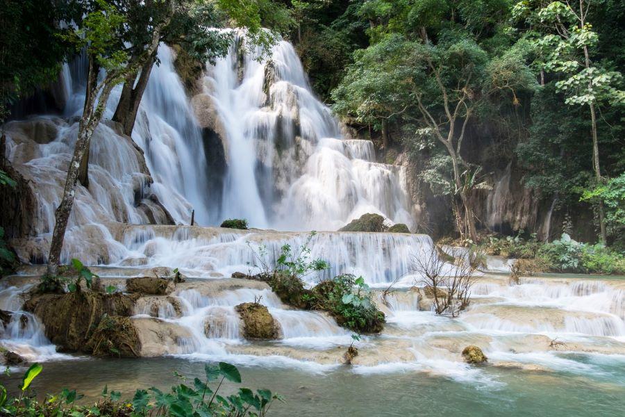 kuang si waterfalls in luang prabang laos