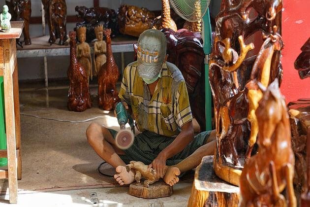 wood carvings - myanmar souvenirs